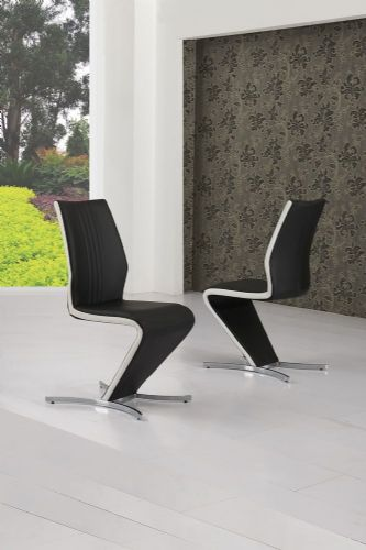 Zico Black & White Strip Z Designer Dining Chair